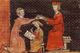 Церемония оммажа — присяги, оформлявшей заключение вассального договора в Западной Европе Средних веков