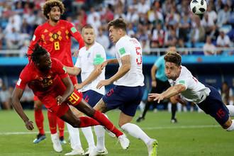 Во время матча группового этапа чемпионата мира по футболу между сборными Англии и Бельгии в Калининграде, 28 июня 2018 года
