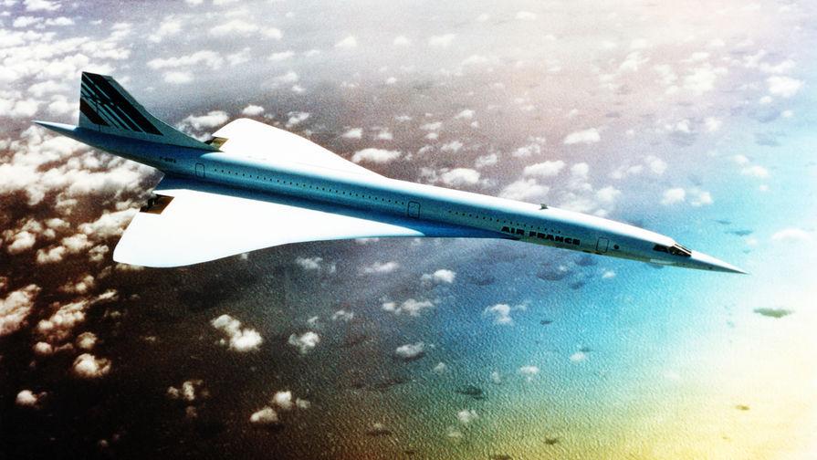 Самолет «Конкорд» авиакомпании Air France в небе, 1978 год