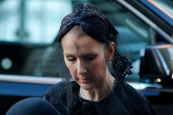 Селин Дион прибывает на церемонию прощания с супругом Рене Анжелилом в Монреале