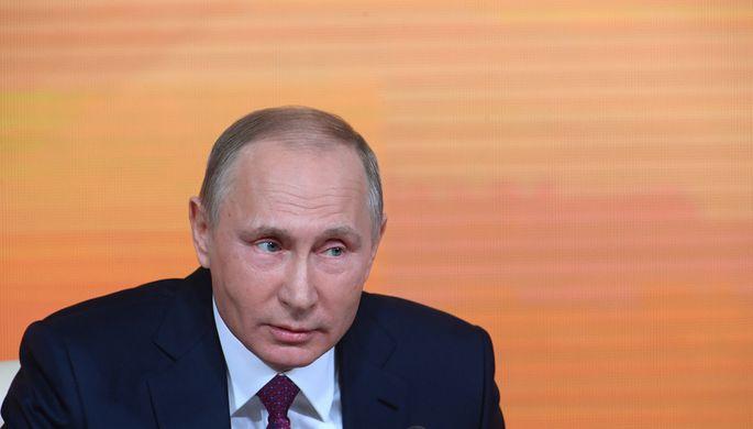 Владимир Путин во время ежегодной большой пресс-конференции