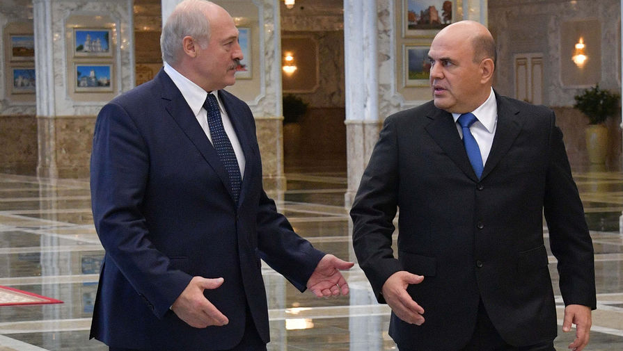 Председатель правительства России Михаил Мишустин и президент Белоруссии Александр Лукашенко во время встречи в Минске, 3 сентября 2020 года