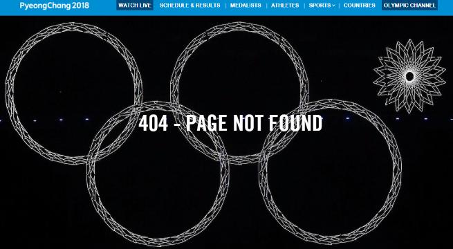 Официальный сайт МОК. Сочи-2014. Ошибка 404