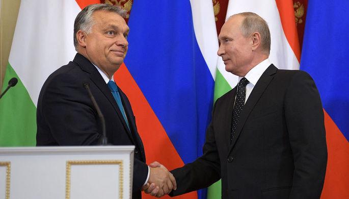 Президент России Владимир Путин и премьер-министр Венгрии Виктор Орбан во время встречи в Москве, 18 сентября 2018 года