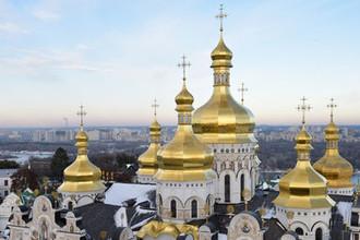 Успенский собор Киево-Печерской лавры в Киеве, ноябрь 2018 года