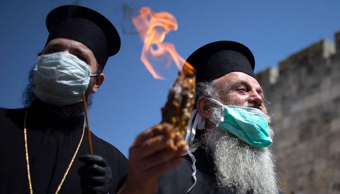 Без паломников: Благодатный огонь сошел в Иерусалиме