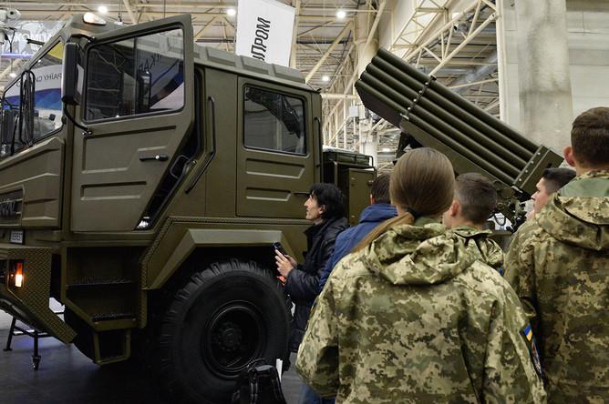 Реактивная система залпового огня BM-21UM «Берест», представленная на международной специализированной выставке «Оружие и безопасность- 2019» в Киеве