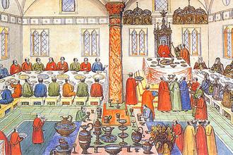 Пир в Грановитой палате. Миниатюра XVII века
