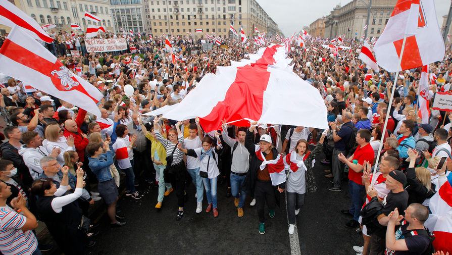 Во время протестов в Минске, 23 августа 2020 года