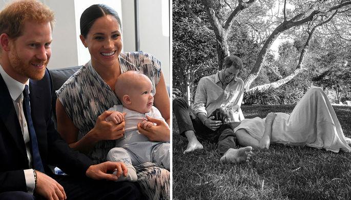 Слева принц Гарри и Меган Маркл с сыном Арчи. Справа — в ожидании второго ребенка