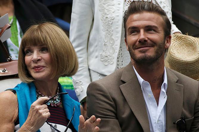 Главный редактор американского Vogue Анна Винтур и футболист Дэвид Бекхем
