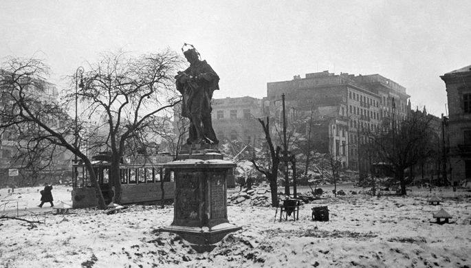 Освобожденная Красной Армией Варшава, январь 1945 года