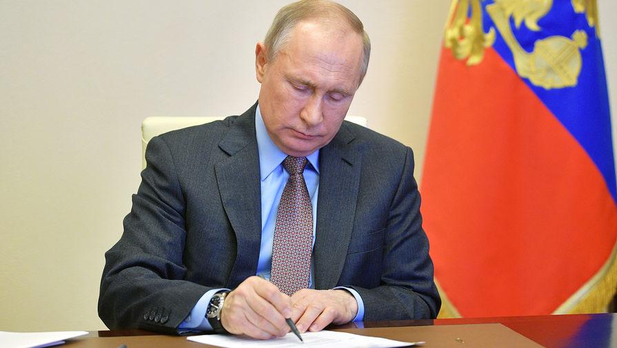 Президент России Владимир Путин во время совещания в режиме видеоконференции о ходе строительства и перепрофилирования медицинских учреждений в регионах России, 17 апреля 2020 года