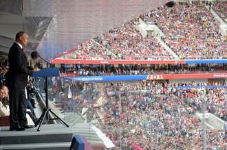 Президент РФ Владимир Путин выступает на торжественной церемонии открытия чемпионата мира по футболу- 2018
