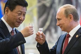 Председатель Китайской народной республики Си Цзиньпин и президент РФ Владимир Путин и