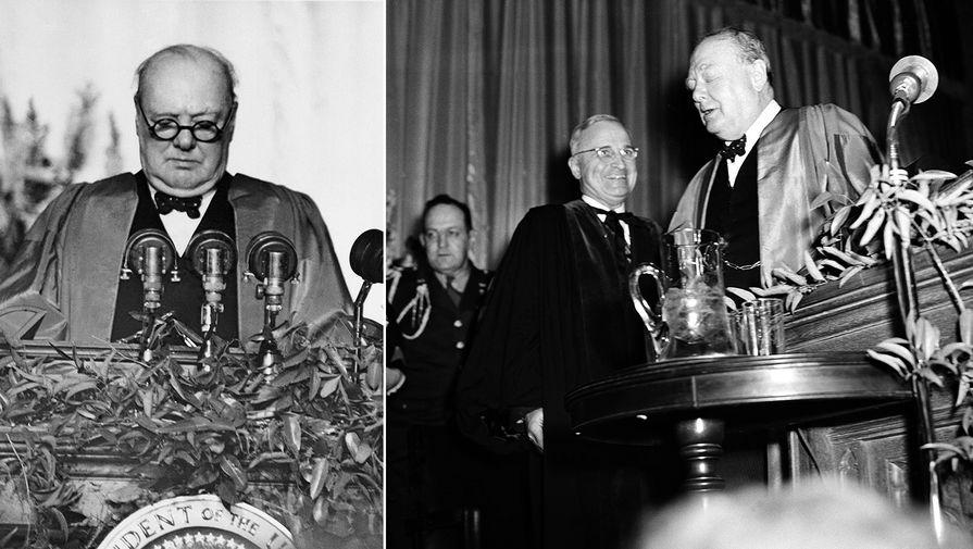 Уинстон Черчилль в сопровождении Гарри Трумэна в Вестминстерском колледже города Фултон, штат Миссури, 5 марта 1946 года