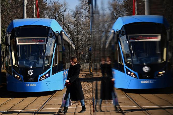 Новые российские трамваи «Витязь-М» в трамвайном депо имени Баумана в Москве