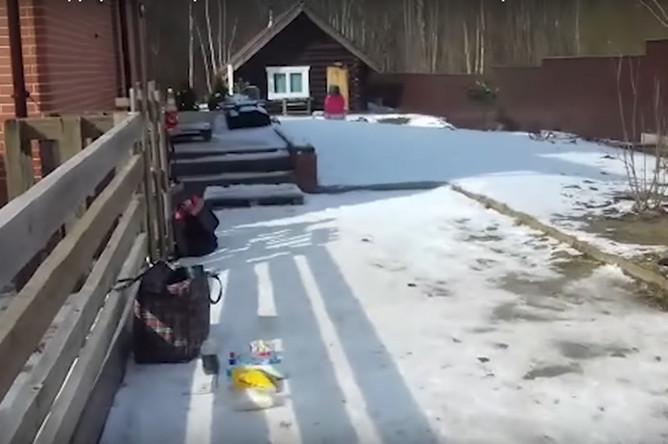 Двор дома во Владимирской области, где проживали предполагаемые боевики. Скриншот из видеозаписи ФСБ
