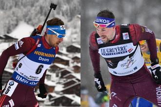 Российский биатлонист Антон Шипулин (слева) и российский лыжник Сергей Устюгов