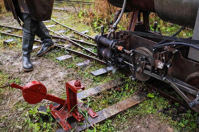 Самодельный локомотив в деревне Ульяновка в Ленинградской области, 4 ноября 2019 года