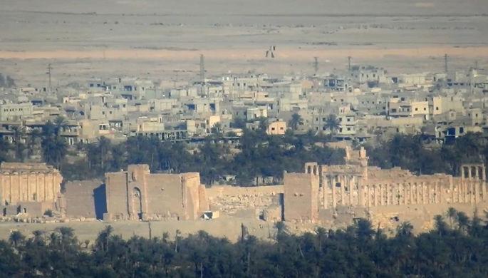 Кадр с видом Пальмиры из видео, распространяемого медиа-агентством ИГ, 11 декабря 2016 года
