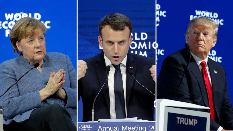 Канцлер Германии Ангела Меркель, президент Франции Эммануэль Макрон, президент США Дональд Трамп на Всемирном экономическом форуме в Давосе