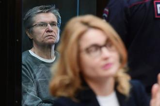 Бывший министр экономического развития России Алексей Улюкаев в Мосгорсуде во время рассмотрения апелляционной жалобы защиты на приговор, 12 апреля 2018 года