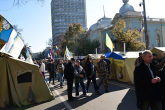 Палаточный городок около здания Верховной рады Украины в Киеве, 18 октября 2017 года