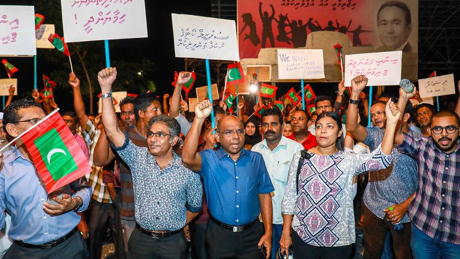 Оппозиционный митинг в городе Мале на Мальдивах, 4 февраля 2017 года