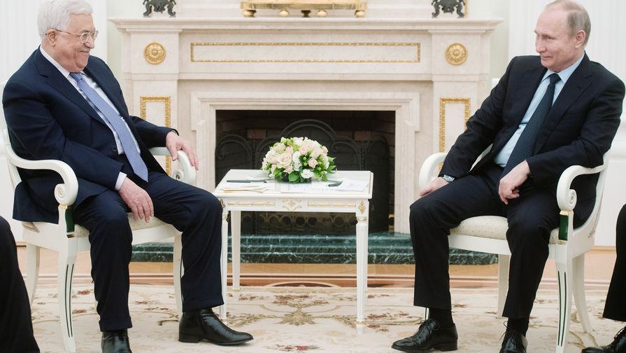 Президент России Владимир Путин и президент Палестины Махмуд Аббас во время встречи в Москве, 12 февраля 2018 года
