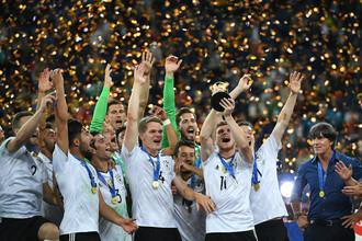 Сборная Германии празднует победу в финале Кубка конфедераций