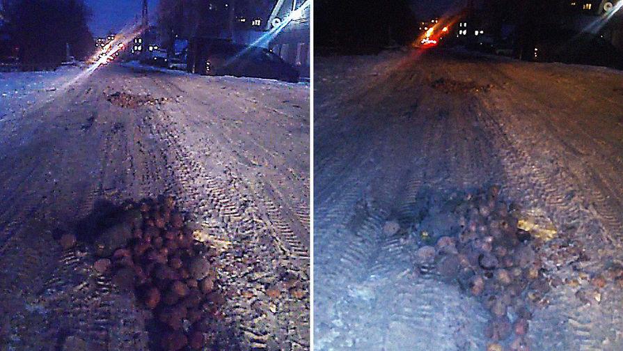 Жители Омска засыпали дорожную яму картофелем