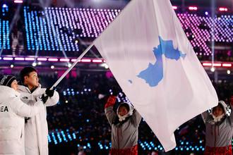 Спортсмены из КНДР и Южной Кореи с флагом Объединения на церемония открытия зимних Олимпийских игр в корейском Пхенчхане, 9 февраля 2018 года