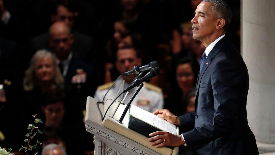 Бывший президент США Барак Обама на похоронах сенатора Джона Маккейна, Вашингтон, США, 1 сентября 2018 года