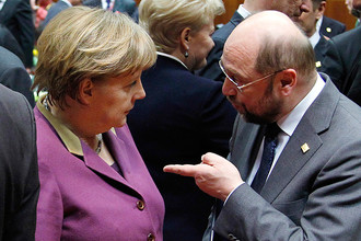 Канцлер ФРГ Ангела Меркель и глава Европарламента Мартин Шульц, 2012 год
