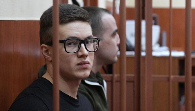 Участник запрещенной в РФ террористической организации «Сеть» Виктор Филинков на выездном заседании Московского окружного военного суда в Санкт-Петербурге, 2020 год