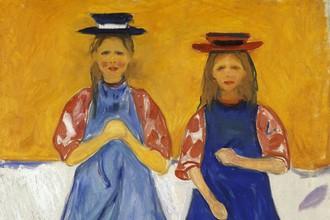 Эдвард Мунк. Две маленькие девочки в синих фартуках