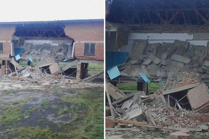Последствия обрушения в здании школы в селе Уян Куйтунского района Иркутской области, 11 сентября 2018 года, коллаж