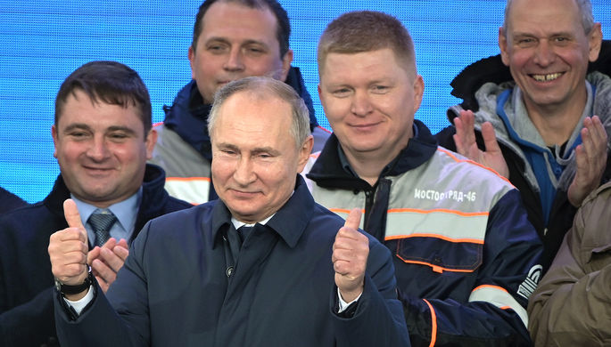 Президент России Владимир Путин на церемонии открытия движения по железнодорожной части Крымского моста через Керченский пролив на станции «Тамань пассажирская», 23 декабря 2019 года