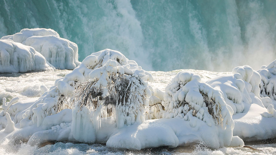 Ситуация у Ниагарского водопада, февраль 2021 года