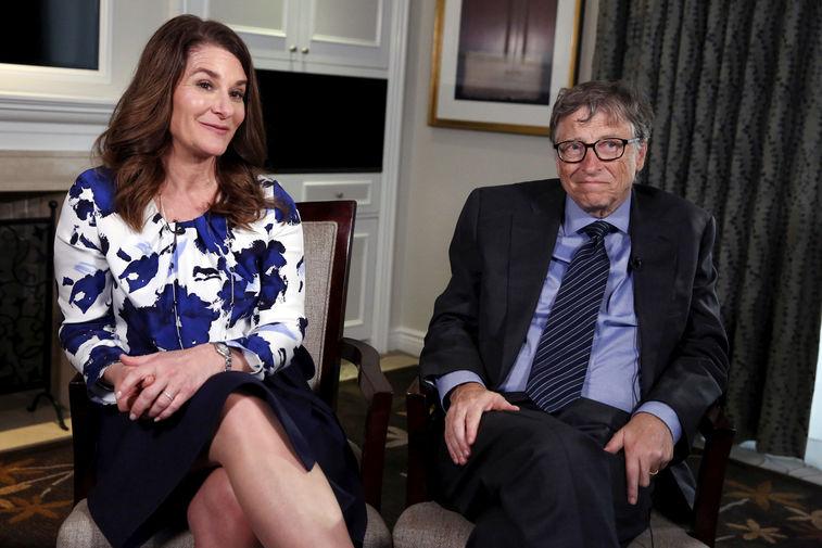 Мелинда и Билл Гейтс во время интервью в Нью-Йорке, 2016 год