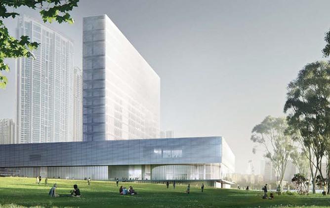 Здание музея M+ в Гонкоге