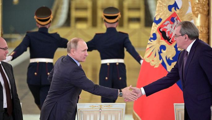 Президент России Владимир Путин и председатель СПЧ Валерий Фадеев на заседании совета в Москве, 10 декабря 2019 года