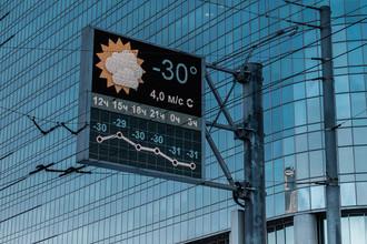 Табло с указанием температуры воздуха на Преображенской площади