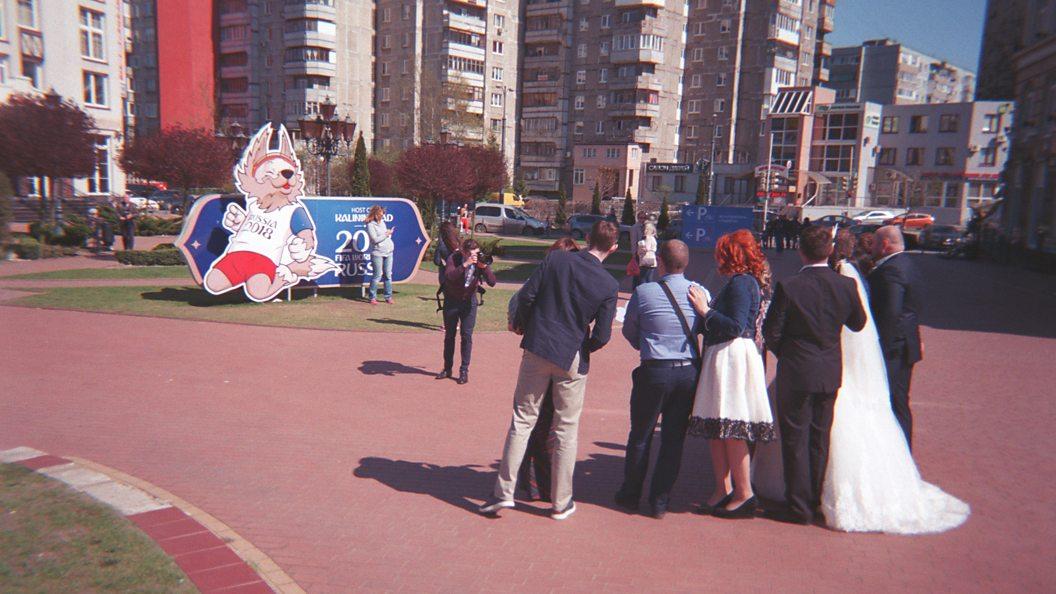 Свадебная пара на фоне талисмана ЧМ-2018 в Калининграде/Goal Click