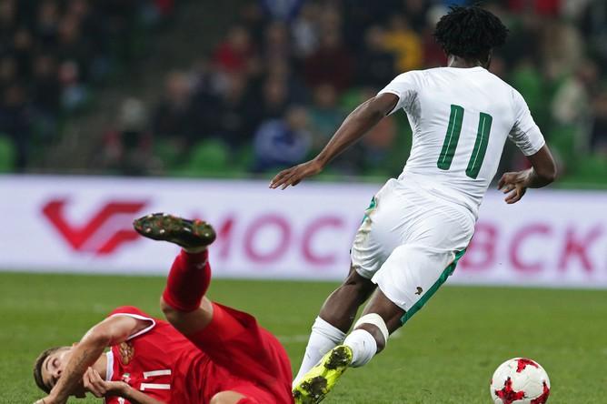 Сборная России уступила команде Кот-д'Ивуара со счетом 2:0.