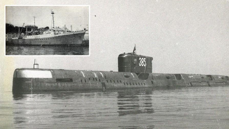 ПЛАРК проекта 675 «К-56» и исследовательское судно «Академик Берг», коллаж...
