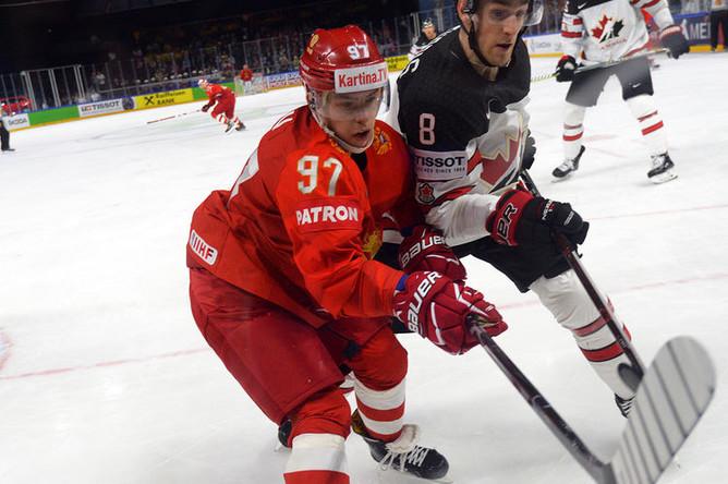 Во время матча в 1/4 финала чемпионата мира по хоккею между сборными командами России и Канады в Копенгагене, 17 мая 2018 года
