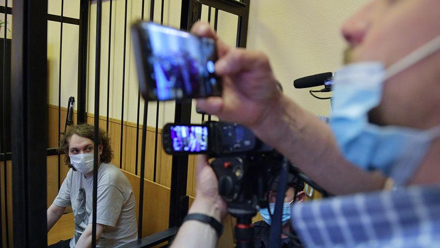 Блогер Юрий Хованский, обвиняемый в оправдании терроризма, в Дзержинском районном суде, 10 июня 2021 года