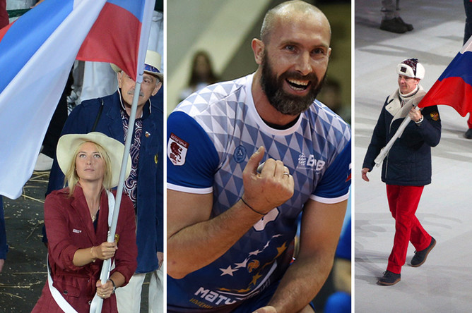 Сергей Тетюхин (в центре) понесет флаг Российской Федерации на церемонии открытия летних Олимпийских игр в Рио-де-Жанейро